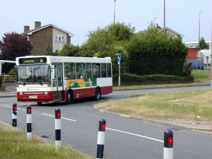 Picture of the first Compass Bus service 8 turning into Lynchmere Avenue on 27 June 2005